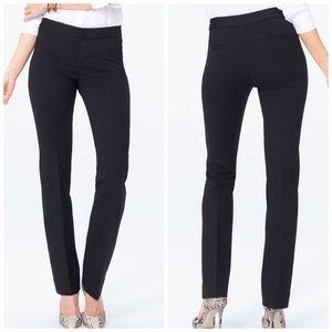 NYDJ Black Slim Trouser Pants Ponte Knit Petite 6P
